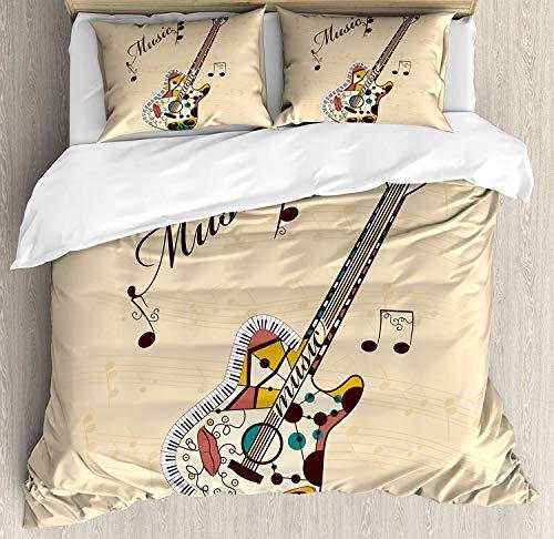 MEHOM Bettbezug-Set für Gitarre (Doppelgröße), abstraktes Gitarreninstrument mit Melodie und Handschrift, 4-teiliges Bettwäscheset, Sandbraun/Mehrfarbig, Polyester-Mischgewebe, Multi, Einzelbett -