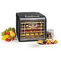 Klarstein Fruit Jerky Plus 6 • Deshidratadora • Desecadora automática • Secadora de Fruta y Carne • 420-500 W de Potencia • 6 Rejillas • Antiadherente • Negro