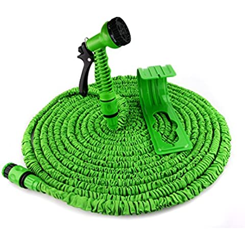 Manguera flexible jardín en el set - extensible a 22,5m - incluyendo cabezal de pulverización y soporte - 3/4 | El original de derDandler