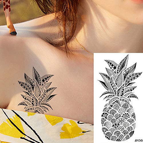 Tzxdbh 5pcs adesivi tatuaggio ananas carino nero donne henné totem tatuaggio temporaneo indiani braccio del corpo ragazze 3d impermeabile