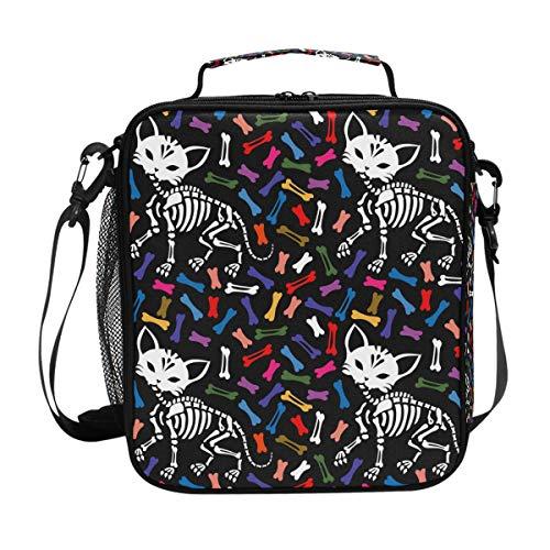 Lunchtasche mit Katzen-Motiv und Knochen für Mahlzeiten, Lunchbox, Kühler, Schultergurt, für Herren, Damen, Kinder, Jungen, Mädchen, groß, isoliert, Picknick, Schule, Büro -