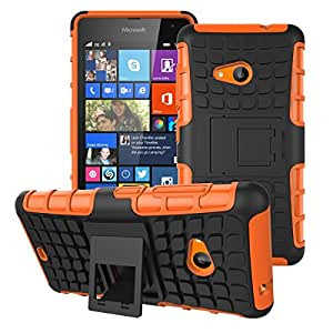 Lumia 535 Cover, Microsoft Lumia 535 Cover Stylish Heavy Duty Hard Back Armor Shock Proof Case Cover with Back Stand Feature by Accessories Collection