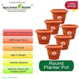 #4: Green and Pure - Premium Quality 10 Inch Round Flower Planter | Planter Pot | Plant Containers Pack of 6 - Brown Colour