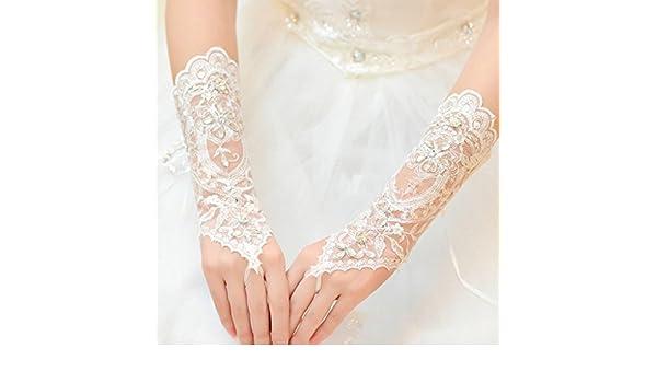 Gjyia Dame Braut Hochzeitskleid Spitze Aush/öhlen Brauthandschuhe Perle Fingerlose Handschuh Hot