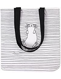 Caixia Women's Black Stripe Lazy Cat Canvas Tote Bag Beige