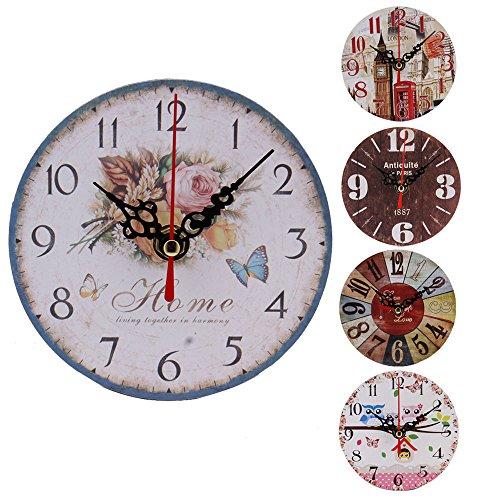 Reloj 3d Madera Diseño Redondo Hong98 Pared La De Vendimia derxBCo