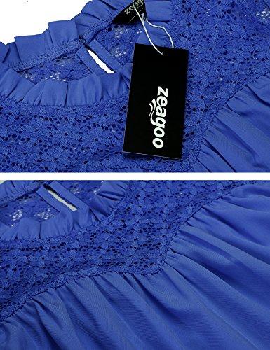 Zeagoo Damen Sommer Beiläufiger Chiffon Spitzen Ärmellos Tops Shirt Weste T-shirt lässige Tanktops Blau-2