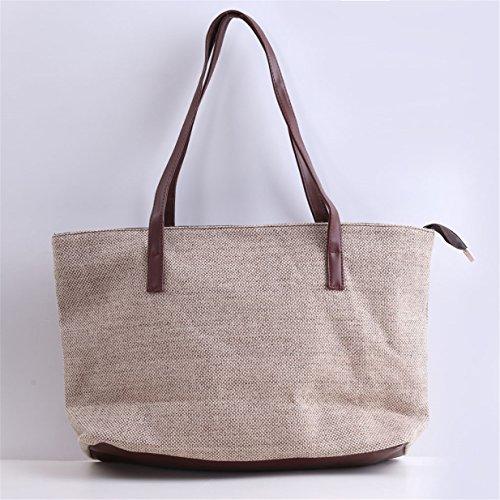 107abce88e9d3 ... Lalang Frauen Klassisch Weinlese Beutel Schulter Beutel Segeltuch  Handtasche Large Bag (Khaki) Khaki ...