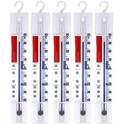 Lantelme 3293 5 thermomètres analogiques pour réfrigérateur, congélateur, glacière - avec Crochets - +/- 40°C
