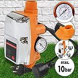 Contrôleur de Pression de Pompe à Eau | Automatique, Pression 10 Bar, 220-240 V, Courant 10 A, avec Manomètre, avec Câble | Régulateur, Pressostat pour Pompe à Eau