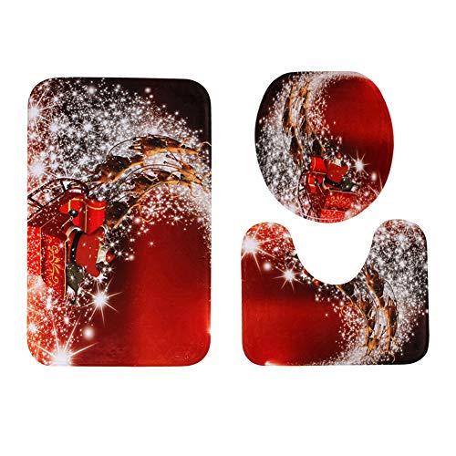 SZFYZCY Fußmatte Badezimmer Vordersitz 3-teiliges Set Nicht-Rutsch-Matte Weihnachtsmann 50 * 80 cm + 40 * 50cm + 38 * 43cm,D,50 * 80cm+40 * 50cm+38 * 43cm