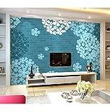 Kuamai Benutzerdefinierte 3D Wandbilder Wandbilder, Elegante Blaue Hortensie Tapete, Hotel Restaurant Wohnzimmer Sofa Tv Wand Schlafzimmer Tapete Für Wand-120X100cm