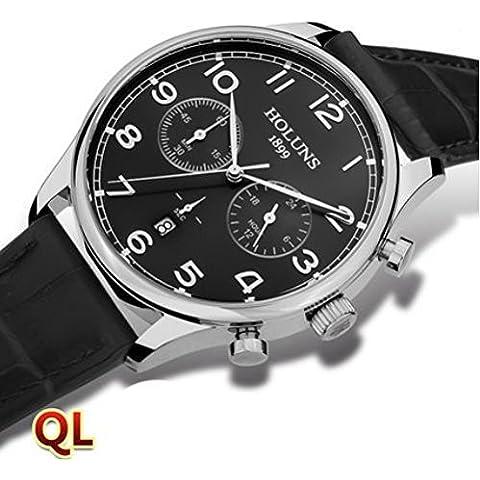 downj da uomo in acciaio inox impermeabile Calendario Cronografo al quarzo orologi con cinturino in pelle nero - Seiko Moon Watch