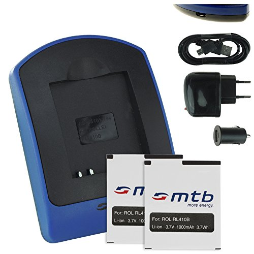 2x Akku + Ladegerät (Netz+Kfz+USB) RL410B für Rollei Action Cam 230, 240, 400, 410 / Maginon AC-800W [3.7V / 1000 mAh / Li-Ion]