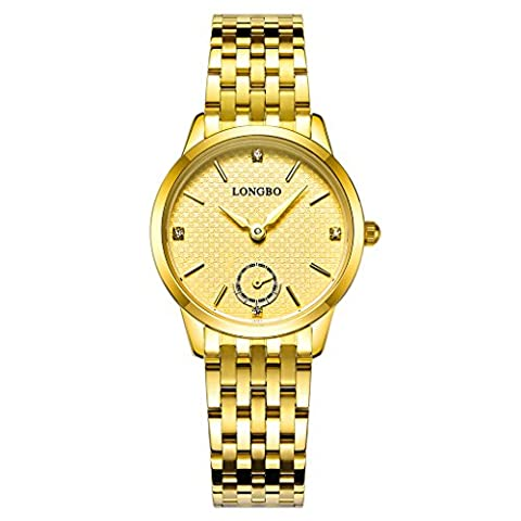 Longbo Luxus Damen Gold Edelstahl Band Analog Quarz Business Watch Vintage Paar Kleid Watch Strass Fake Chrono Eye Gold Zifferblatt Armbanduhr für Lady
