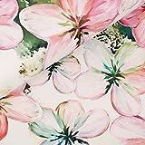 StoffMetropole Schöner Velour Fleur mit Blumen in rosa und