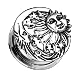 Piersando Ohr Plug Schraub Piercing Ear Flesh Tunnel Ohrpiercing Ohrplug Edelstahl Vintage Tribal Ethno Silber mit Sonne Mond und Sternen 6mm
