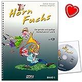 Horn Fuchs Band 1 - Die geniale und spaßige Hornschule in F und B von Stefan Dünser und Andreas Stopfner - Lehrbuch mit CD und bunter herzförmiger Notenklammer