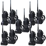 Ammiy 10PCS BF-888s 400-470 MHz Walkie Talkies Two Way Radio Rechargeable Long Range Headset Headphone Built in LED Torch for Outdoors Sports Survival Biking Hiking