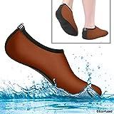 Eco-Fused Aqua-Socken für Frauen – Mehr Komfort – Schützen vor Sand, kaltem/heißem Wasser, UV-Licht, Steinen/Kieseln – Easy Fit Schuhe für Schwimmen, Beach Volleyball, Schnorcheln ((S) 36-38, Braun)