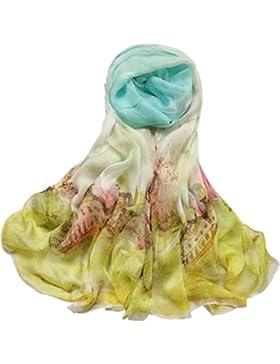 LAIDAGE Las Mujeres Clásicas De Seda Suave De Exquisito Lujo Ligeros Chales Sedoso De Protección Solar