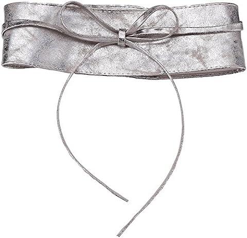 14987-SILGRY-OS: Damen Obi Gürtel (Silbergrau, Einheitsgröße)