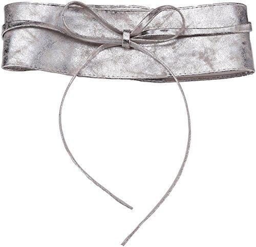 14987-SILGRY-OS: Damen Obi Gürtel (Silbergrau, Einheitsgröße) -