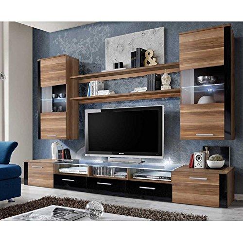 AC-Déco Ensemble Mural - Fresh - 1 Meuble TV - 2 vitrines Verticales - 2 étagères - Prunier et Noir - LED