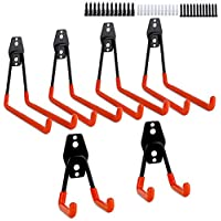 Dirza Steel Garage Storage Utility Double Hooks Heavy Duty Wall Mount Garage Tool Organizer Hangers for Organizing Power Tools, Ladders, Bulk Items, Hoses (4 Large,2 Small)