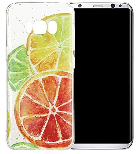 Nnopbeclik Silikon Transparent Hülle Für Samsung Galaxy S8, Ultra Slim Weich TPU Cover Case [Einfaches Design] Durchsichtig Blume Case Etui, Druck Multi Muster [Schmetterling] Niedlich Schutzhülle Glä Zitrone