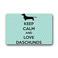 BIRSY Keep Calm And Love Daschunds Non Slip Entrance Rug Outdoor/Indoor Durable And Waterproof Machine Washable Door Mat 20x32(IN)