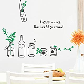 Love Makes The World SO rund Creative Drift Flaschen Wand Aufkleber 61 x 66 cm
