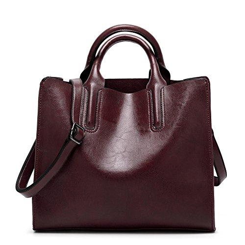 Weiche Aktentaschen (Frauen Tote Einfarbig Einfache Handtasche Damen Weiche Leder Aktentasche Schulter Kreuzkörper Tasche Große Kapazität Arbeit Büro Casual Bag,RedWine-(LxWxH):30x13x27cm)
