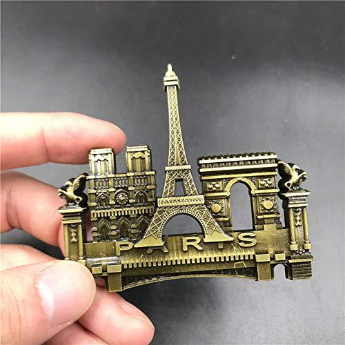 Fingertoys Notre Dame De Paris Kühlschrank-Magnet-Aufkleber Kreative 3D Kühlschrank-Magnet-Aufkleber Home Dekoration Reise Souvenir Geschenk, Legierung, H06