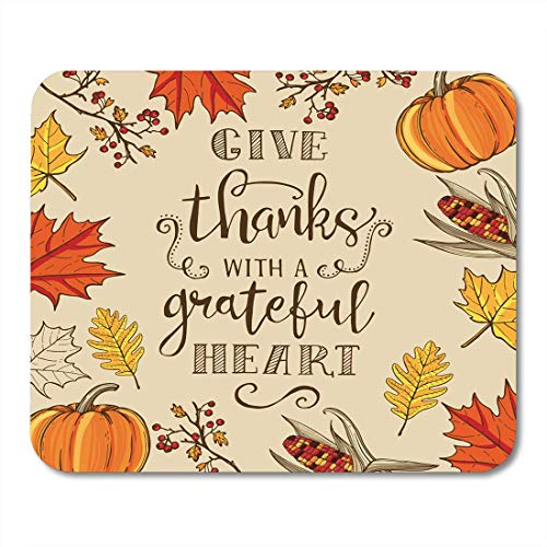AOHOT Mauspads Thanksgiving Vintage Lettering Maple and Oak Leaves Branches Berries Pumpkin Indian Corn Mouse Pad Mats 9.5