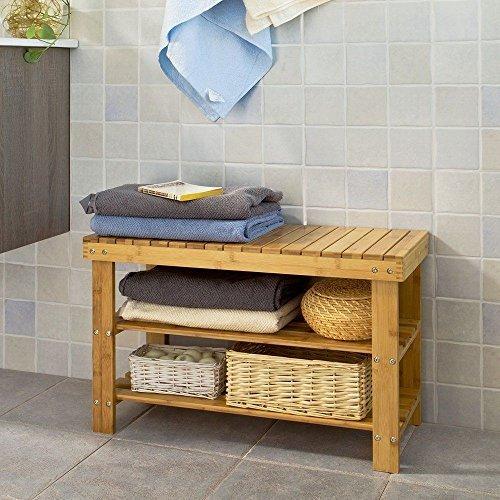 Home Treats Schuhregal aus natürlichem Bambus, 2 Etagen, Organizer und Bank, Bambus, beige, 3 Tier Shoe Rack (SYWD-515) - Drei-tier Shoe Shelf