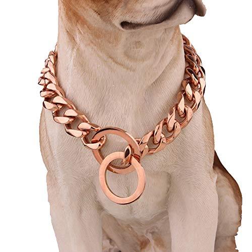 DUPFY 12mm Breite Große Hip Hop Rose Gold Ton 316L Edelstahl Dog Choke Kette Kragen Haustiere Personalisierte Cut Curb Kubanischen Gliederkette 12-34 Zoll 32inch (Gold Dog Choke-kette)