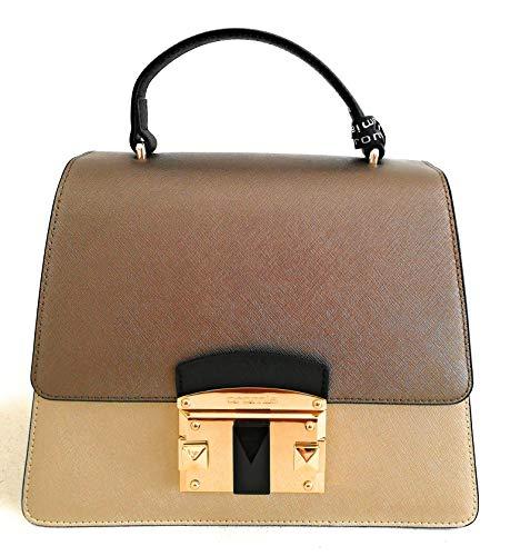 Cromia Damen Handtasche aus Leder mit Schultergurt Serie Bag IT Saffiano 1403875 col. Gold Größe 24x19x11,5 cm