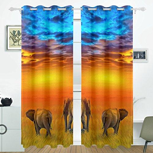 JSTEL Elefant Sonnenuntergang Vorhänge Panels Verdunklung Blackout Tülle Raumteiler für Terrasse Fenster Glas-Schiebetür Tür 139,7x 213,4cm, Set von 2 -