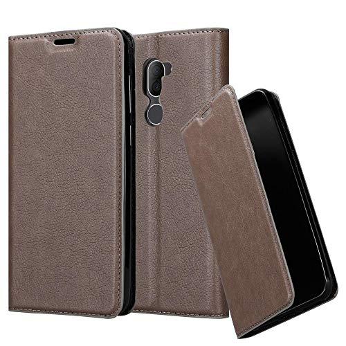 Cadorabo Hülle für Alcatel 3X in Kaffee BRAUN - Handyhülle mit Magnetverschluss, Standfunktion & Kartenfach - Case Cover Schutzhülle Etui Tasche Book Klapp Style