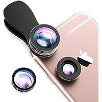 Mpow 3 in 1 Clip-On Fischaugen Objektiv 180 Grad Fischauge Objektiv Fisheye Supreme + 0.65X Weitwinkel + 10X Makro-Objektiv für iPhone 7 7Plus 6S 6S Plus 6 Samsung HTC Huawei und mehr Android Smartphone