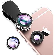 Mpow 3 in 1 Clip-On 180 Grad Fischauge Objektiv Fisheye Supreme + 0.65X Weitwinkel + 10X Makro-Objektiv für iPhone 7 7Plus 6S 6S Plus 6 Samsung HTC Huawei und mehr Android Smartphone