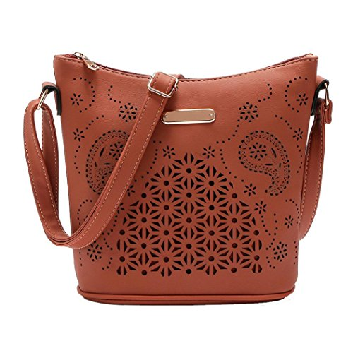 "Borse Donna , feiXIANG 2017 Donna in pelle borsa borsetta cross body Hollow out borsa Messenger Bag,PU,23*25*12cm/9.1*9.8*4.7"",Leggero, portatile e alla moda (Nero) Caffè"