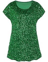 PrettyGuide Damen Funkeln Shirt Glitter Pailletten Dolman Loose Tunika Bluse  Top dedd3cf76b