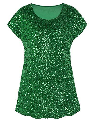 PrettyGuide Damen Pailletten Shirt Shimmer Glitter Loose Fit Party Tops Dolman Ärmel Grün S/EU38-40