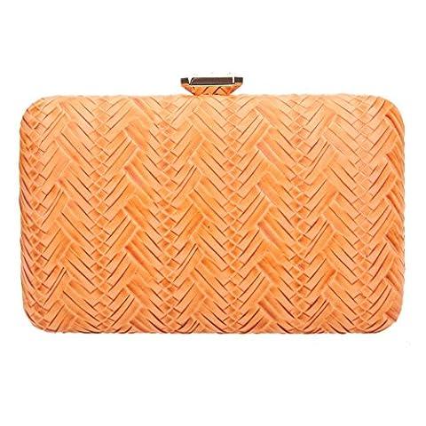 Bonjanvye Big Man Made Diamond PU Leather Weave Pattern Bags for Women Pumpkin