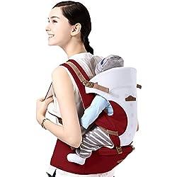 GBlife Mochila Portabebé 5 en 1 de Diseño Ergonómico Ajustable Portadores Marsupios para Recién Nacidos/ Bebés(Claret)