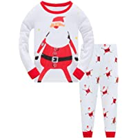 Christmas Pjs Kids Pyjamas Set for Boys Pajamas Cotton Toddler Baby Clothes Girls Nightwear Fun Santa Claus Sleepwear Unisex Long Sleeve 2 Piece Nightwear Outfit 1-12 Years