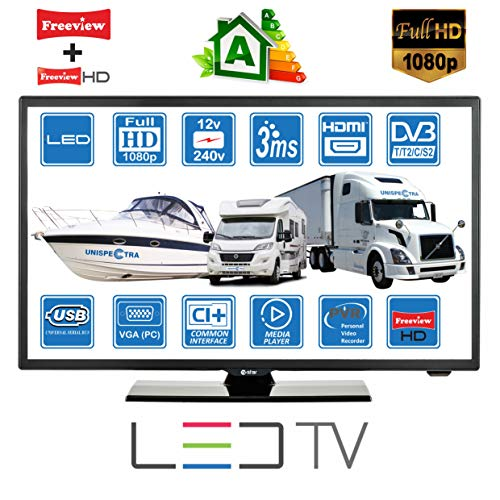 "MOTORHOME CARAVAN BOAT 12V 22"" Inch FHD LED Digital Freeview & Freesat TV 12 Volt USB PVR by Unispectra® (UK Plug)"