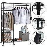 BRIAN & DANY Garderobenständer Aus hochwertigen Metall, Offener Kleiderschrank mit 6 Rollräder und Ablagen verstellbar 183x 121x 45 cm